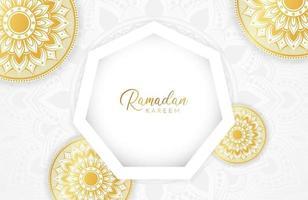 Ramadan kareem background with gold mandala and hexagon shape on white Vector illustration for Islamic holy month celebrations