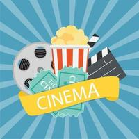 Abstract Cinema Flat Background with Reel, Old Style Ticket, Big Pop Corn and Clapper Symbol Icons. Vector Illustration