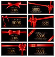 Gift Voucher with Red Bow and Ribbon Set Template For Your Busin vector