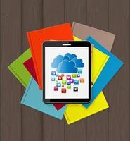 Superiority E-Book Over Paper Books Concept Vector illustration
