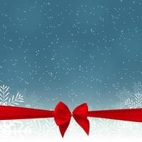 Abstract Beauty Christmas and New Year Background with Snow, Snowflakes, Ribbon and Bow. Vector Illustration