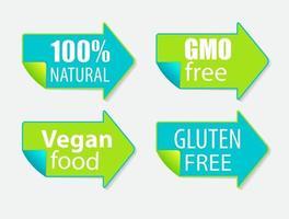 Gmo Free, 100 Natutal, Vegan Food and Gluten Label Set vector