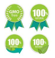 Gmo Free and 100 Natural Label Set Vector Illustration