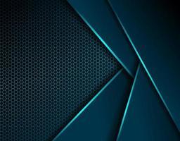 Fondo oscuro moderno con diseño de acero hexagonal brillante vector