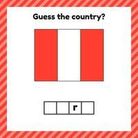 hoja de trabajo sobre geografía para niños en edad preescolar y escolar. crucigrama. bandera de perú. Señala el país. vector