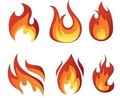 Fire abstract torch signs flame vector design illustration with White Background