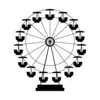 Ferris Wheel Icon Silhouette. Entertainment Round Attraction. Vector Illustration
