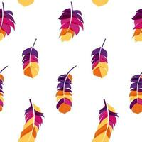 pluma de pájaro dibujado a mano de patrones sin fisuras fondo vector illus