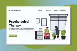 A man complains to a psychiatrist about his problem. Psychological landing page template. vector
