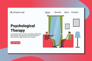A man tell his problem to a psychiatrist. Psychological landing page template. vector