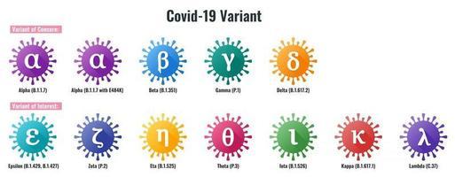 Set of Coronavirus or SARS-CoV-2 Variant Colorful Illustration vector