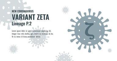 New Coronavirus or SARS-CoV-2 Variant Zeta P.2 Illustration vector