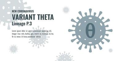 New Coronavirus or SARS-CoV-2 Variant Theta P.3 Illustration vector