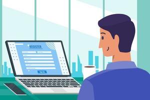 Young Man Filling In Online Registration Form vector