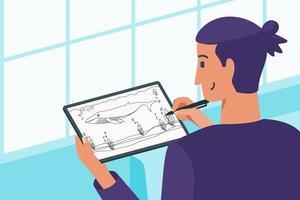 Pro Digital Artist Creating Sketch vector