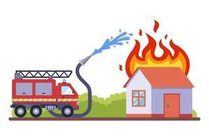 un cuerpo de bomberos vino a apagar el fuego. la casa en llamas se extingue con agua. ilustración vectorial plana. vector