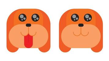 Flat design cute dog face with tongue or without tongue. Vector illustration.