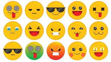 Set of emoticon smiley icons. Cartoon emoji set. Flat design emoticon set. Vector illustration.