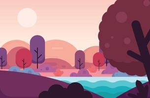 Mountain nature panoramic landscape. Flat design vector illustration.