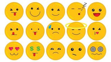 Flat Design Vector Emoji Set with Different Reactions Isolated on White Background. Communication Chat Elements.