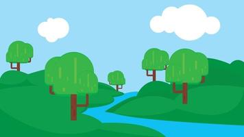 Cartoon flat panorama of spring summer beautiful nature, green grassland meadow with blue lake, mountains on horizon background, mountain lake landscape vector illustration.