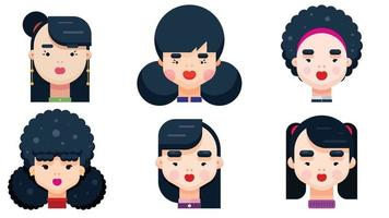 Set of woman faces with various hairstyle. Collection of young girls portraits. Different avatars of black haired girl. Flat Design Vector illustration.