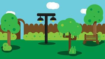 City park with green trees, bench, bushes and lantern. City park landscape nature. Urban public garden. Flat design vector illustration.