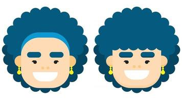 Flat design woman face with blue curly hair with different styles. Vector illustration.