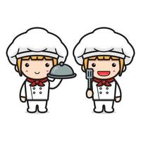 Cute chef holding spatula and plate cartoon icon vector illustration