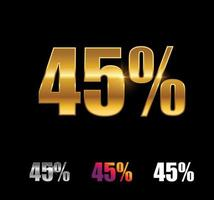 Golden and Silver 45 Percent Sign vector