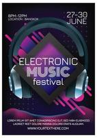 music festival poster for party retro background vector