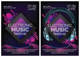 retro background music festival poster for party vector