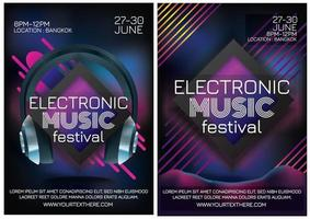electro music festival poster for party vector