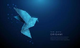 Abstract paper origami bird. Low poly style design. vector