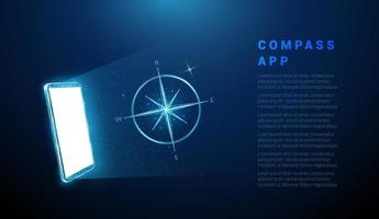 Abstract blue mobile phone with white screen and compass vector