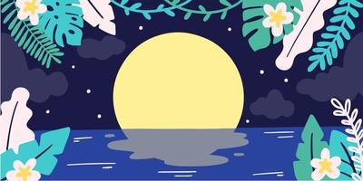 Calm And Mysterious Moon Night Doodle Illustration vector