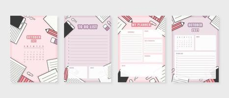 October 2021 - Planner. Modern planner template set. Set of planner and to do list. Monthly, weekly, daily planner template. Vector illustration.