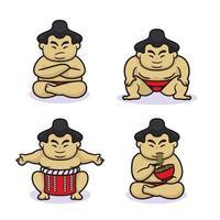 Sumo wrestler design cute style vector