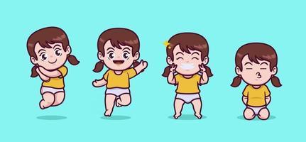 linda chica chibi ilustración vector