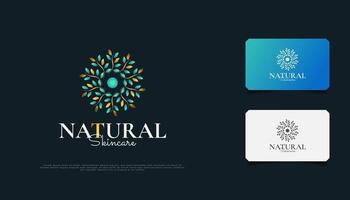 Luxurious Nature Floral Leaf Ornament Logo, Suitable for Spa, Beauty, Resort, or Cosmetic Product Brand Identity. Elegant Blue and Gold Mandala vector