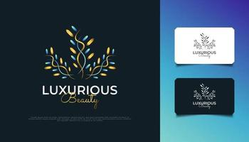 Elegant Blue and Gold Flowers Logo. Luxury Floral Leaf Ornament Logo, Suitable for Spa, Beauty, Resort, or Cosmetic Product Brand Identity vector
