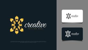 Luxury Gold Flower Logo. Golden Mandala Ornament Suitable for Spa, Beauty, Resort, or Cosmetic Product Brand Identity vector
