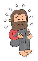 Cartoon Homeless Man Crouching and Very Sad Vector Illustration