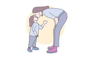 Hand drawn illustration sweet kiss mom and daughter vector