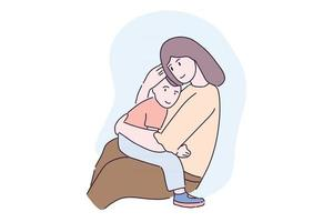 Hand drawn illustration cute mother hug son with love vector