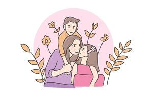 Hand drawn illustration cute family mother and two kids play vector