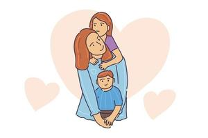 Hand drawn illustration cute mom play with her kids vector