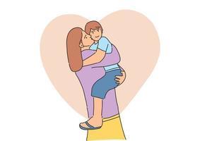Hand drawn illustration mother hug and kiss son vector