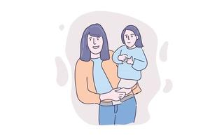 Hand drawn illustration sweet mom and kids color vector
