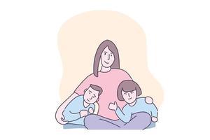Hand drawn illustration mother hug two kids vector